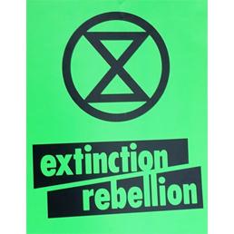 Das Logo unseres Bündnis Partners Extinction Rebellion zeigt eine Stilisierte Sanduhr in einem Kreis
